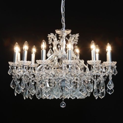 Antique French Cut Glass Silver Chandelier 12 arms